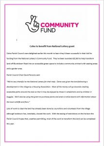 national lottery grant funding
