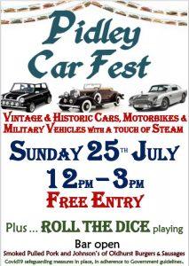 Sunday 25th July Pidley Car Fest